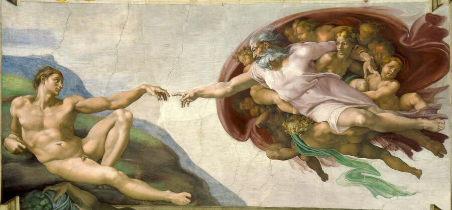 Фрагмент потолка Сикстинской капеллы, фреска «Сотворение Адама» работы Микеланджело