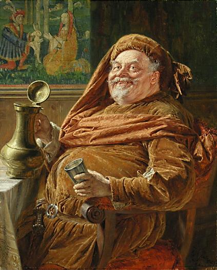 Эдуард фон Грютцнер, Сэр Джон Фальстаф, с кувшином вина