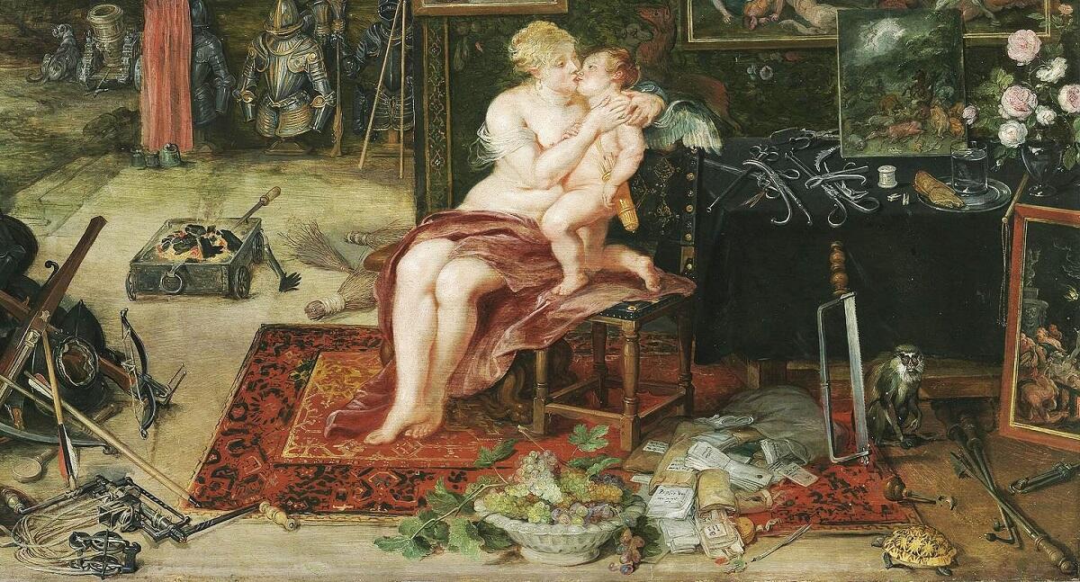 Питер Пауль Рубенс, Ян Брейгель Старший, Осязание, фрагмент «Венера и Купидон»