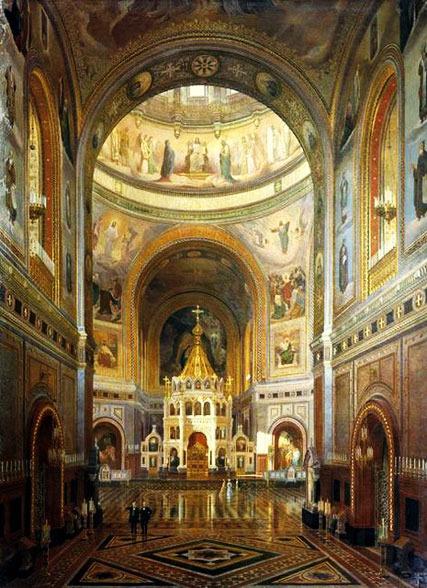 Ф. А. Клагес. Внутренний вид храма Христа Спасителя в Москве. 1883 год.