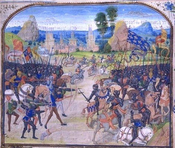 Битва при Пуатье, средневековая миниатюра