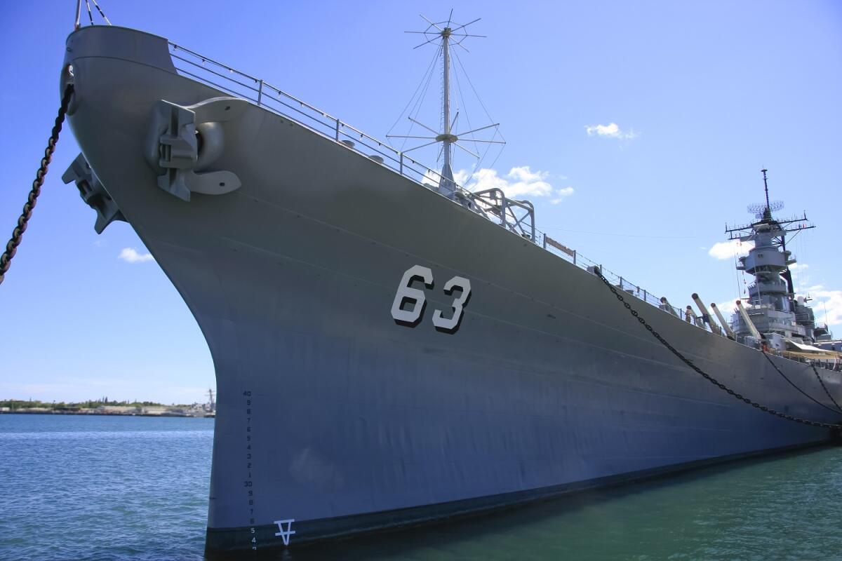 Корабль-музей «Миссури», на борту этого линкора был подписан Акт о капитуляции Японии, на вечной стоянке в Перл-Харбор