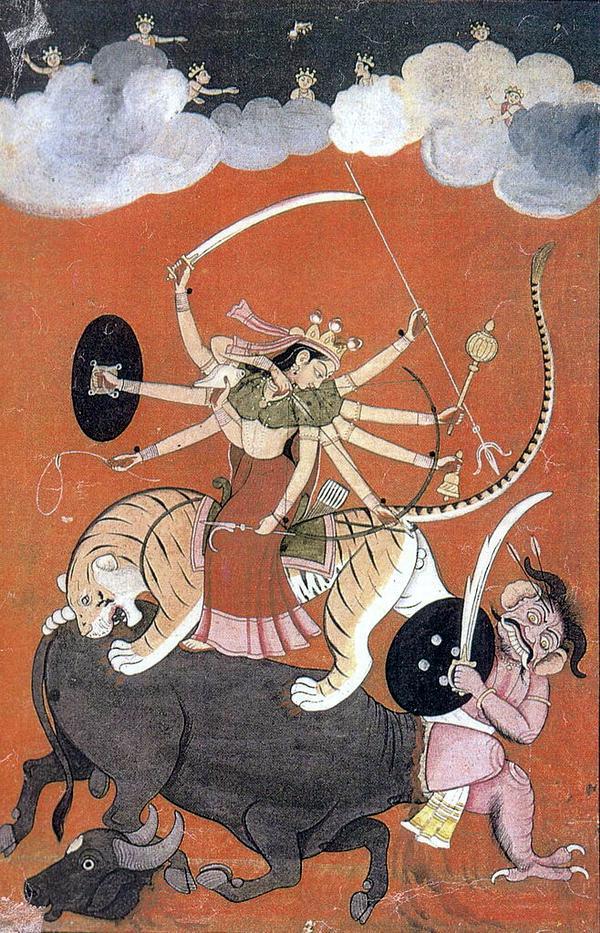 Индуистская богиня Дурги верхом на тигре
