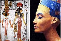 Богиня Изида, сопровождающая королеву Нефертари в загробный мир (слева) и знаменитая Нефертити (справа).