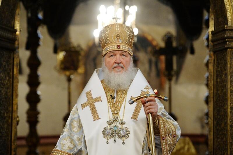Патриарх Московский и всея Руси Кирилл, посох архиерея символизирует власть Духа