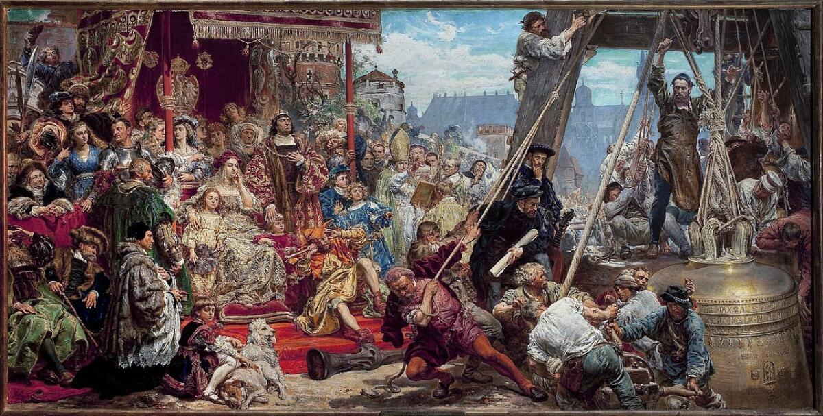Установка колокола Сигизмунда, картина Яна Матейко