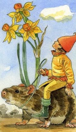 Эльф в жёлтом одеянии, едущий верхом на крысе. Рисунок на карте Таро
