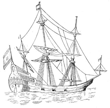 Корабль Фредерик, иллюстрация из книги Шершова А. П. «К истории военного кораблестроения»