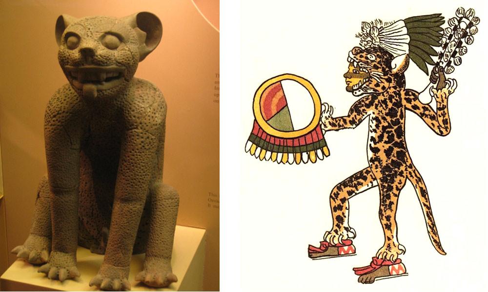 Слева— статуэтка ягуара из Монте-Альбан (200 г.до н.э.); справа— изображение воина-ацтека в ягуаровой шкуре