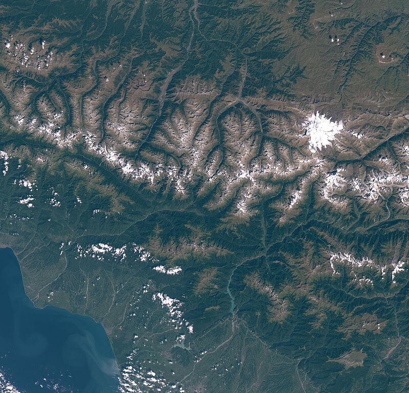 Вид на Эльбрус из космоса