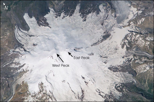 Снимок Эльбруса из космоса