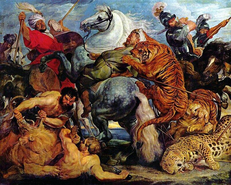 Питер Пауль Рубенс. «Охота на тигров и львов». 1618 г.