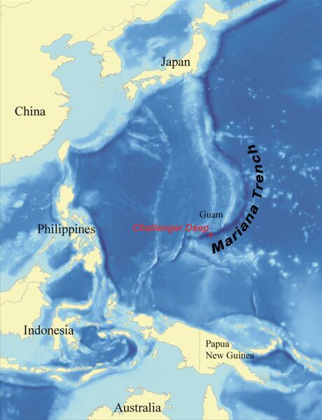 Местонахождение Марианской впадины и «Бездны Челленджера» (отмеченной красным)