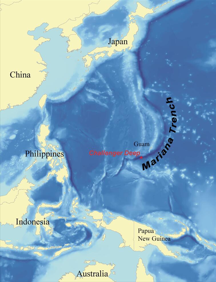 Местонахождение Марианской впадины и«Бездны Челленджера» (отмеченной красным)