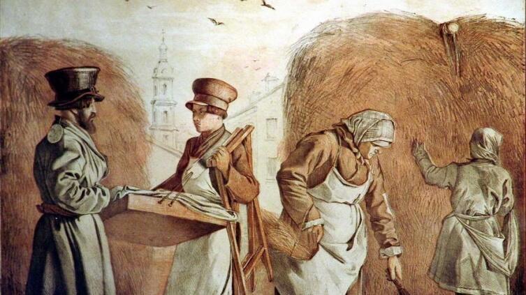 Извозчик, лоточник, баба с метлой. И. С. Щедровский, литографии середины XIX в
