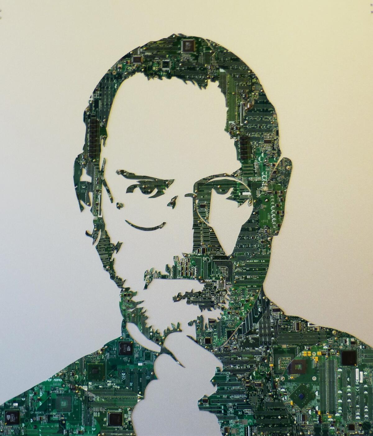 Портрет Стива Джобса, сделанный из микросхем