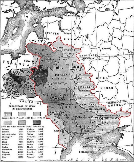 Карта черты оседлости (красная линия)