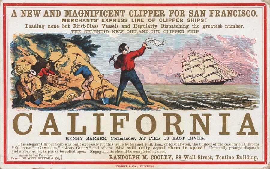 Реклама тура в Калифорнию к золотой лихорадке, 1850-е