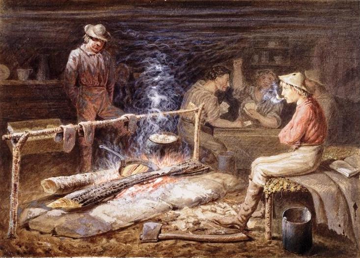 «Приготовление бекона», 1862 год, картина неизвестного художника изображает внутреннее убранство хижины старателей на реке Фрейзер