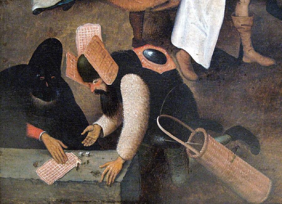 Питер Брейгель Старший, Битва поста и масленицы, 1559, фрагмент «Вафли»