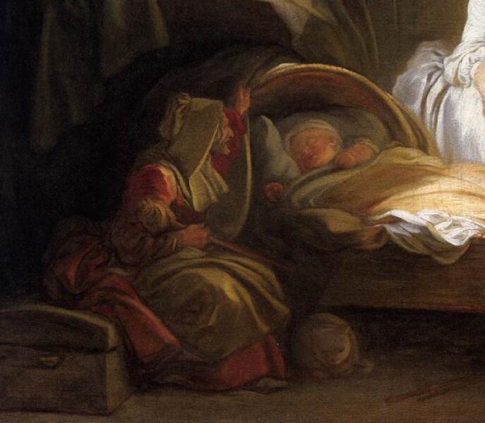 """Жан Оноре Фрагонар, Визит к няне, фрагмент """"Старуха и ребенок"""""""
