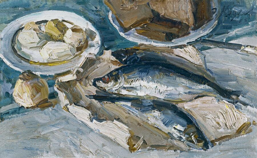 Э. Козлов, «Натюрморт с селёдкой», 1965 г.