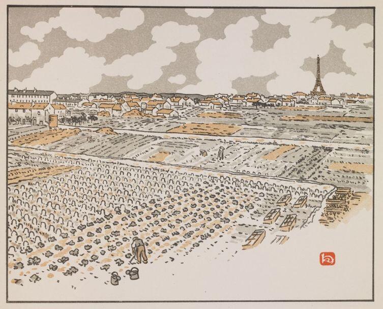 Анри Ривьер, «Огороды в Гренель», из серии «36 видов Эйфелевой башни»