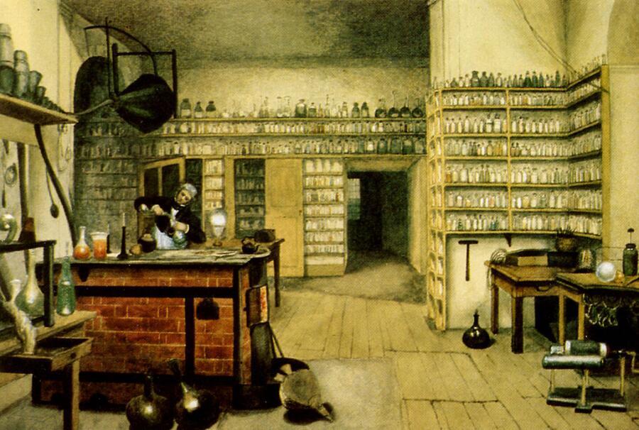 Фарадей за опытами в лаборатории, картина Гарриет Мур