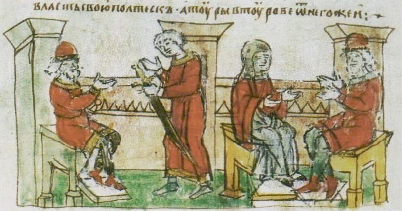 Сваты Владимира Святославича у Рогволода (слева); Рогволод беседует с Рогнедой (справа)