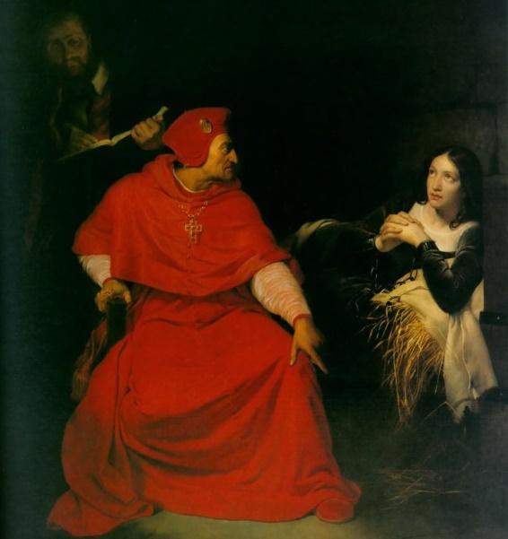 Поль Деларош, «Допрос Жанны кардиналом Винчестера», 1824 г.