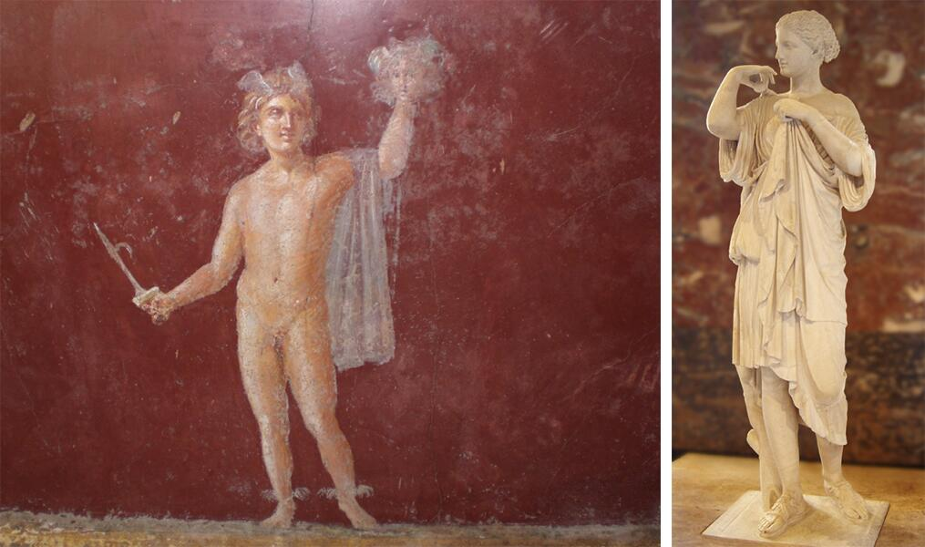 Слева - Персей на римской фреске; справа - статуя богини Дианы