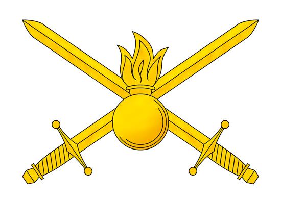 Современные мотострелки носят петличный знак Сухопутных Войск РФ — пылающую гренаду на фоне двух перекрещенных мечей