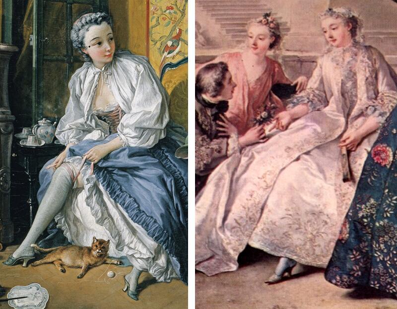 Пантуфли на картинах XVIII века: Ж. Ф. де Труа «Общество в парке» и Ф. Буше