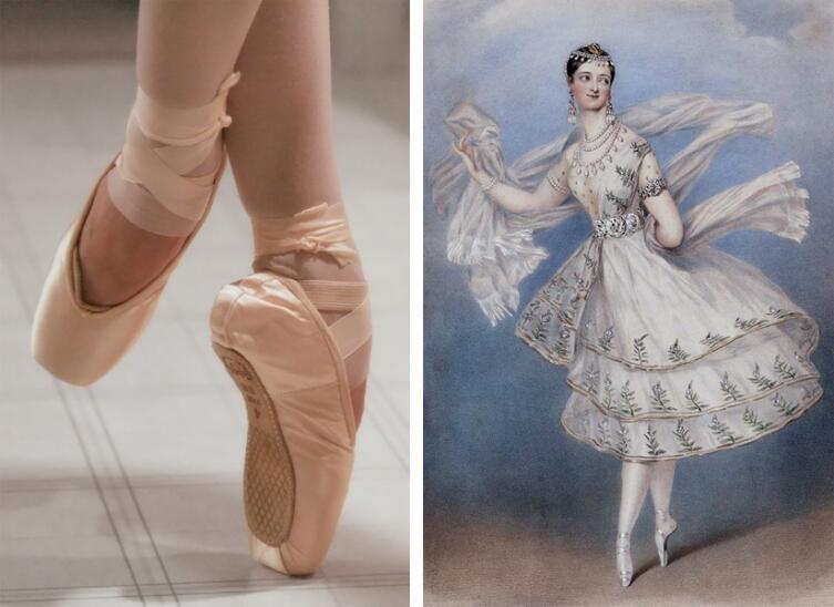 Слева - пуанты; справа - Мария Тальони в балете «Бог и баядерка» (1830)