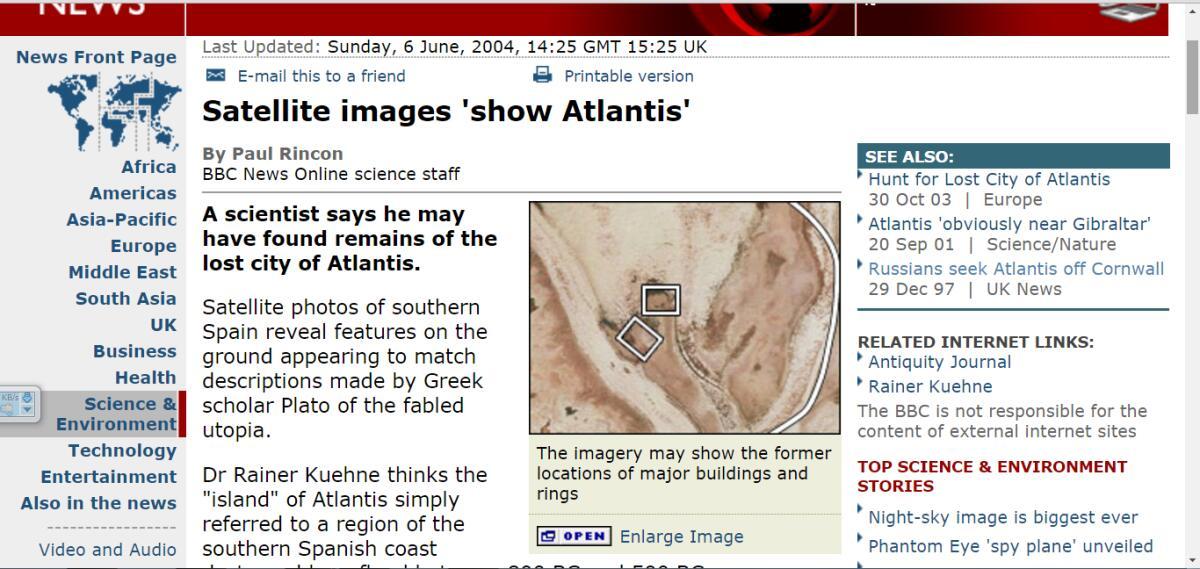 О возможной Атлантиде в Испании вновь заговорили в 2004 году