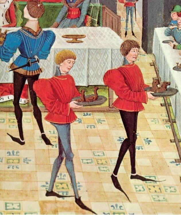 Пулены на рисунке из рукописи XV века