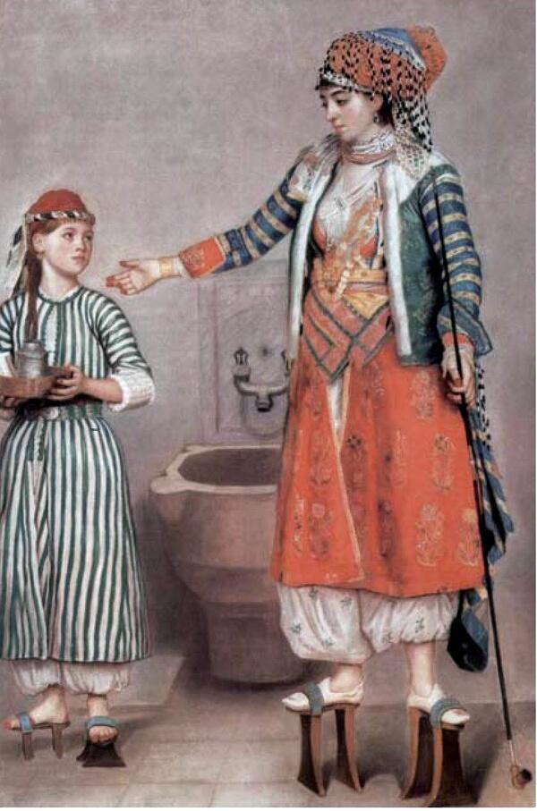 Турецкие паттены - подобие чоппинов - на рисунке Ж. Лиотара, 1743 г