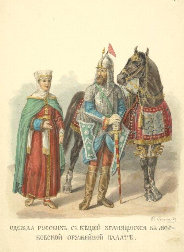 Сафьяновые сапоги у древнерусского воина и его жены