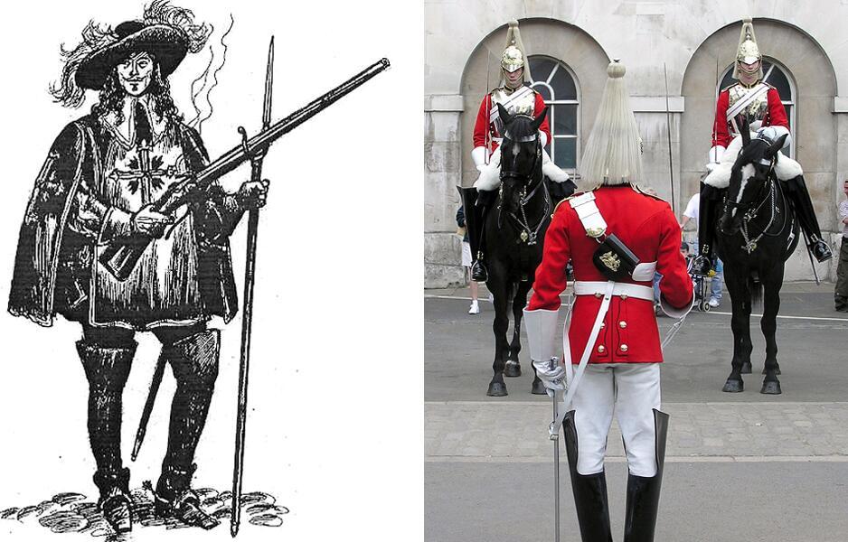 Слева - королевский мушкетёр в ботфортах. Справа - смена караула эскадрона Лейб-Гвардии