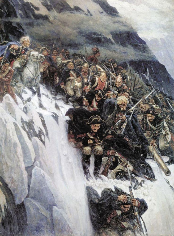 Суриков, «Переход Суворова через Альпы», 1899 год