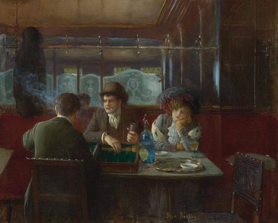 Жан Беро, Игра в трик-трак в кафе, 1809, частная коллекция