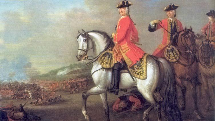 Георг во время Деттингенского сражения в 1743 году, работа Джона Вутона