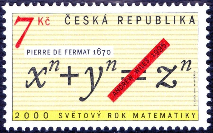 Почтовая марка Чехии 2000 года к Всемирному году математики, посвященная теореме
