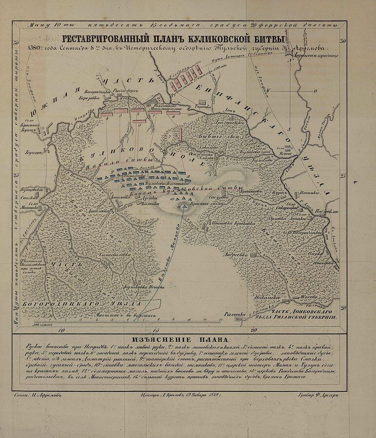 Реставрированный план Куликовской битвы к «Историческому обозрению Тульской губернии» И. Афремова
