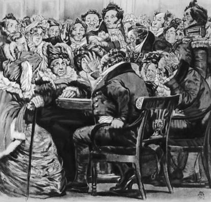 «Горе от ума» А. С. Грибоедова. Илл. Д. Н. Кардовского. Тушь, акварель, гуашь, 1907—1912