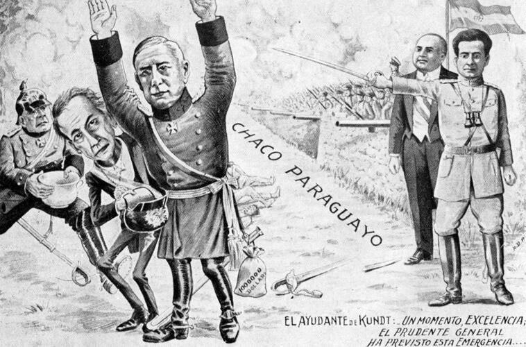 Парагвайская карикатура, изображающая боливийского главнокомандующего Ханса Кундта, 1932г