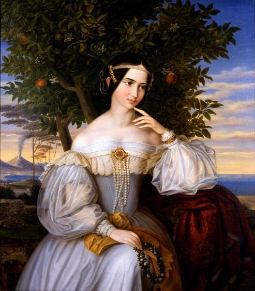 Мориц Даниэль Оппенгеймер, свадебный портрет Шарлотты Ротшильд, 1836, 120х103 см, музей Израиля, Иерусалим, Израиль