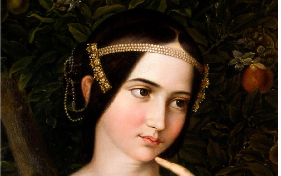 Мориц Даниэль Оппенгеймер, свадебный портрет Шарлотты Ротшильд, фрагмент