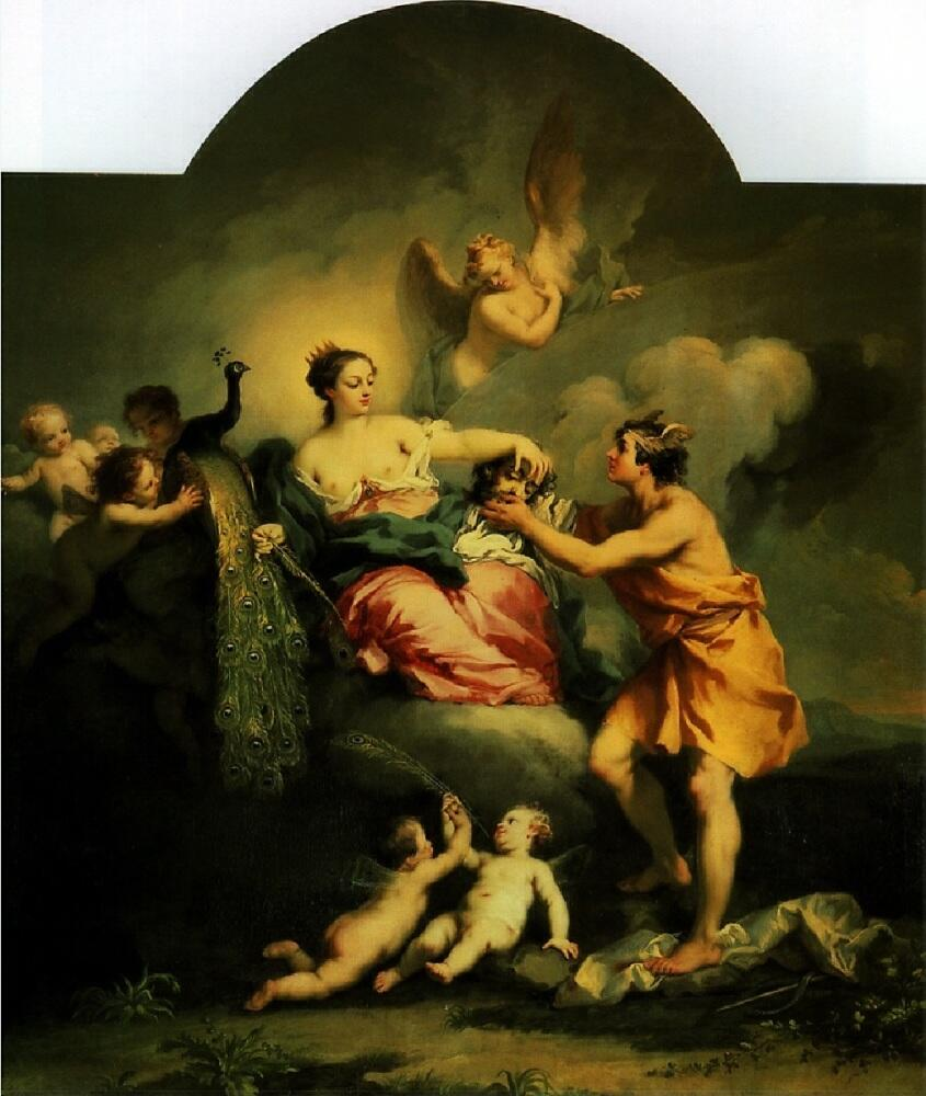 Якопо Амигнони, Юнона получает голову Аргуса, 1730, 108×72 см, Moor Park Ха́ртфордшир, Англия