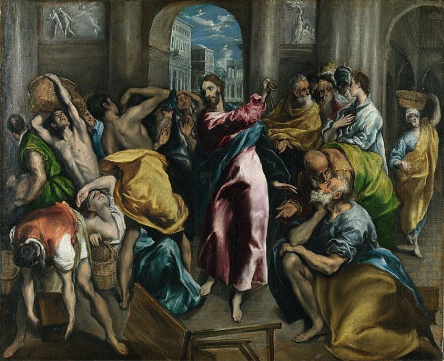 Эль Греко,Изгнание торгующих из храма, 1600, 106х130 см, Национальная галерея, Лондон, Англия